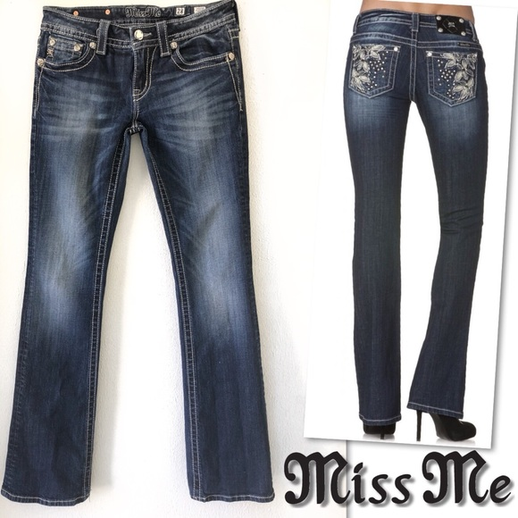 Miss Me Denim - MISS ME JP5858B JEWELED STUDDED BOOT CUT JEANS 28